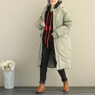 Women Loose Hoodie Thick Long Winter Coat Q2066