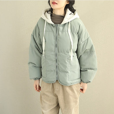 Cute Korea Style Short Hoodie Winter Coat For Women Q2069