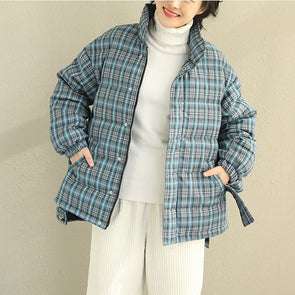 Cute Short Striped Thick Winter Down Coat Women Casual Tops Q2060