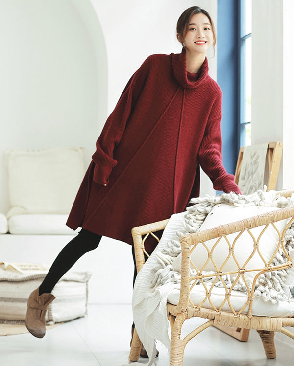 Elegant High Neck Loose Sweater Dresses For Women Z81230