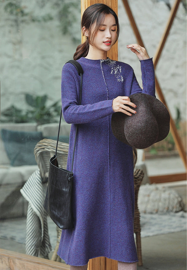 Women Elegant Purple High Neck Woolen Dresses Z81215