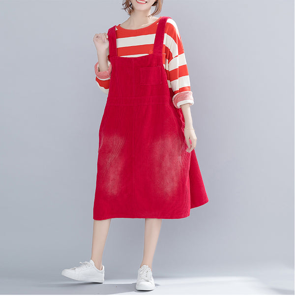 Vintage Simple Corduroy Strap Dresses For Women Q17123