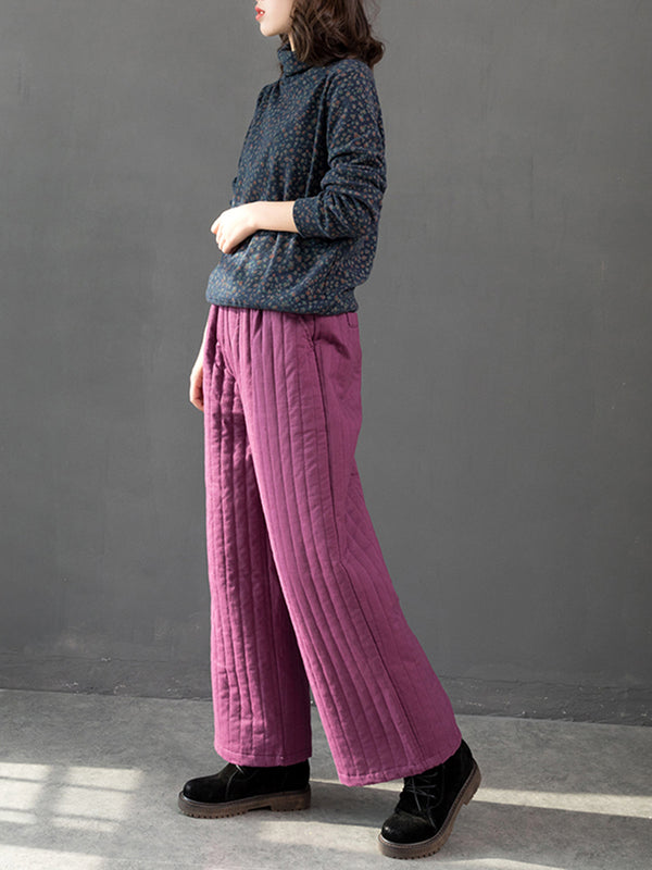 Vintage Casual Thick Wide Leg Pants Women Winter Trousers K17121