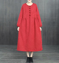 Chinese Style Loose Cotton Linen Brushed Dresses For Women 1363