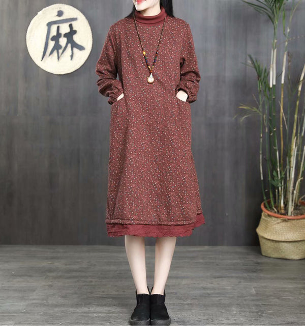 Women Loose High Neck Brushed Dresses Casual Winter Clothes 1362