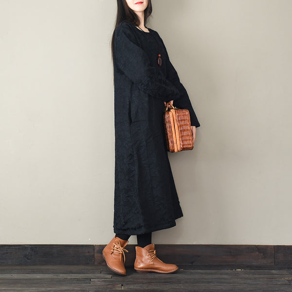 Vintage Loose Thick Maxi Dresses Women Winter Clothes F30