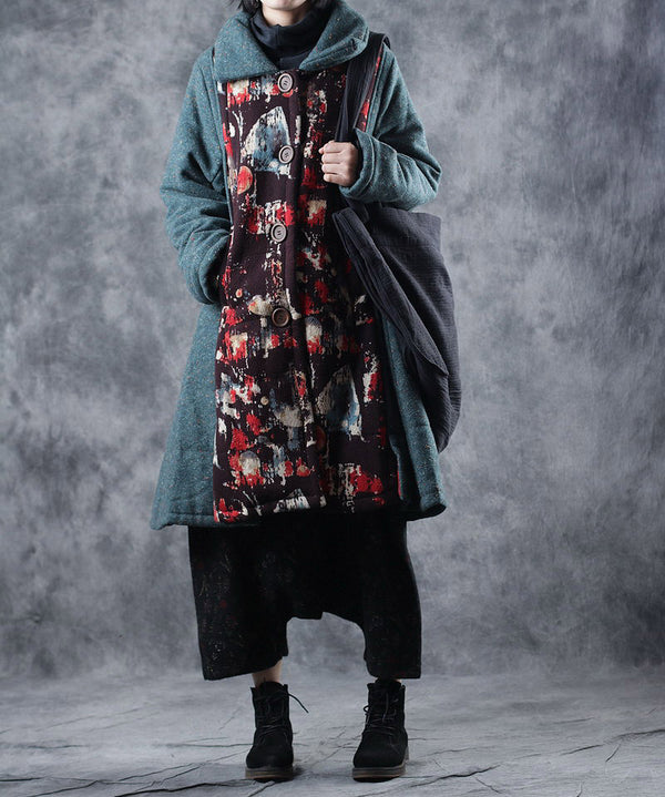 Vintage Red And Green Print Long Winter Coat For Women W7961
