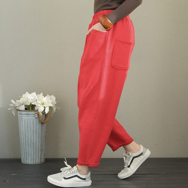 Women Brushed Thick Casual Pants Loose Harem Trousers Q2108