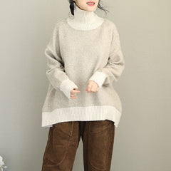 Women Korea Style High Neck Loose Knitwear Casual Winter Sweater Q2092