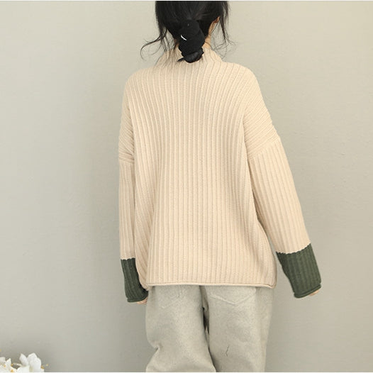 Loose Quilted Color High Neck Sweater Women Casual Tops Q2085