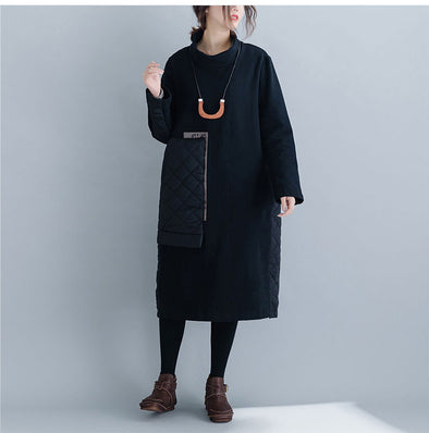 Black Korea Style Quilted Casual Thick Dresses For Women Q24121