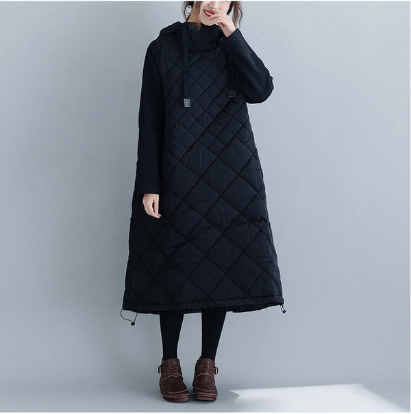 Loose Black Hoodie Thick Winter Dresses For Women Q24122
