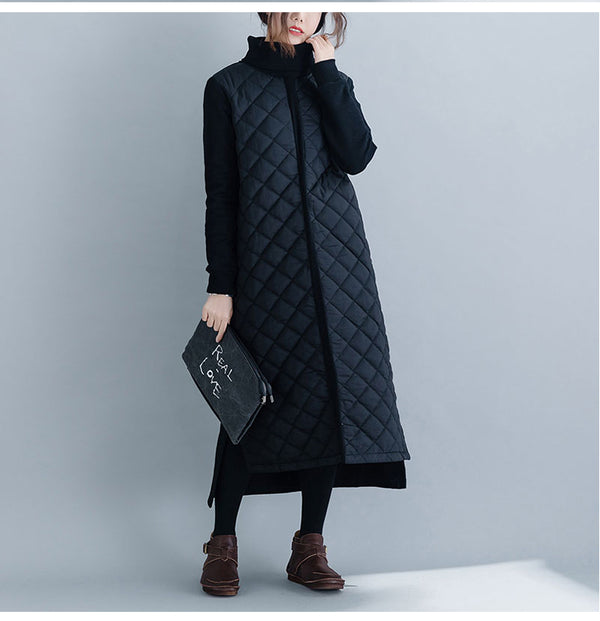 Women Casual Black High Neck Thick Maxi Dresses For Winter Q24123