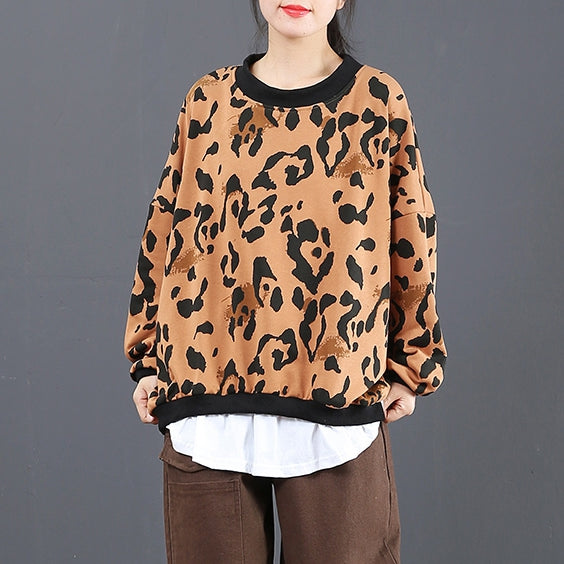 Casual Quilted Brushed Print Shirt Women Loose Tops 6066