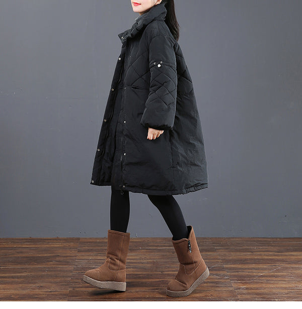 Black And Coffee Medium Length Winter Coat For Women 6057
