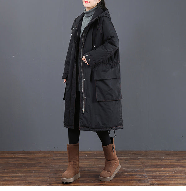 Women Casual Hoodie Zipper Long Winter Coat 6055