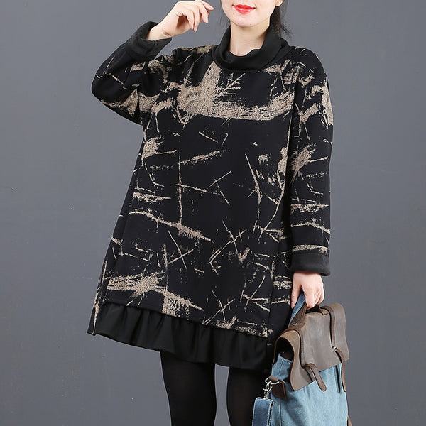 Women Loose High Neck Brushed Fleece Casual Tops 6051