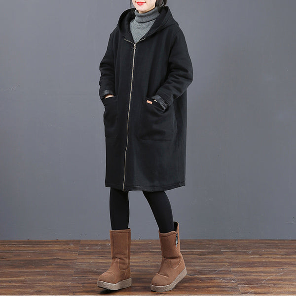 Women Loose Hoodie Thick Cotton Coat Casual Outfits 6030