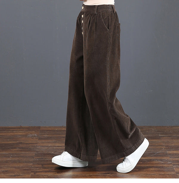 Coffee Loose Corduroy Wide Leg Casual Pants For Women 6029