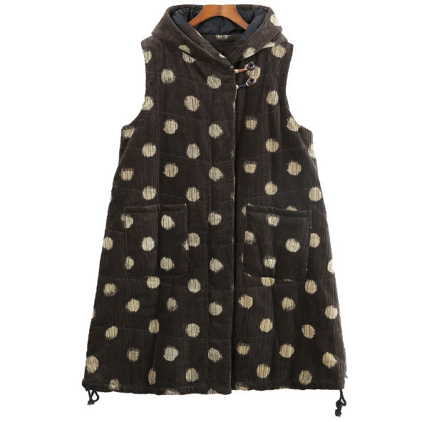 Casual Hoodie Polka Dot Corduroy Long Waistcoat For Women 6022