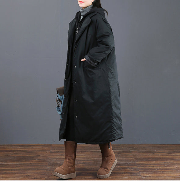 Black Hoodie Print Thick Winter Coat Women Loose Outfits 6011