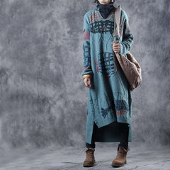 Loose Vintage Print Maxi Sweater Dresses For Women J9055