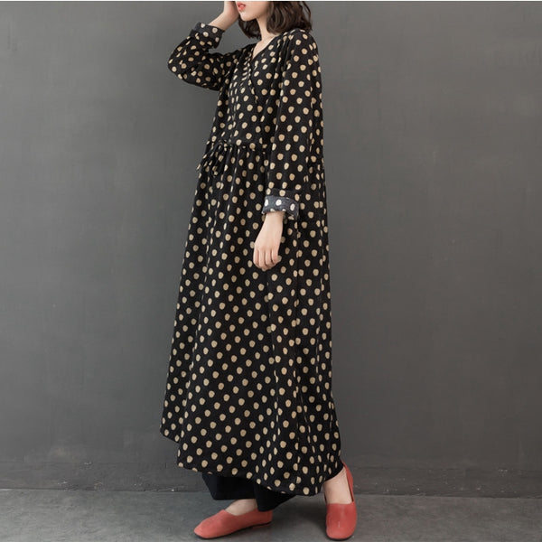 Vintage Loose Polka Dot Corduroy Maxi Dresses For Women Q24126
