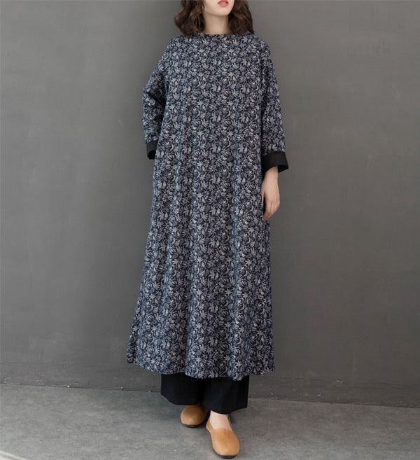 Women Loose Vintage Print Maxi Dresses Casual Clothes Q24127
