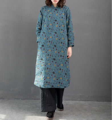 Blue Vintage Casual Brushed Thick Dresses For Women Q24128
