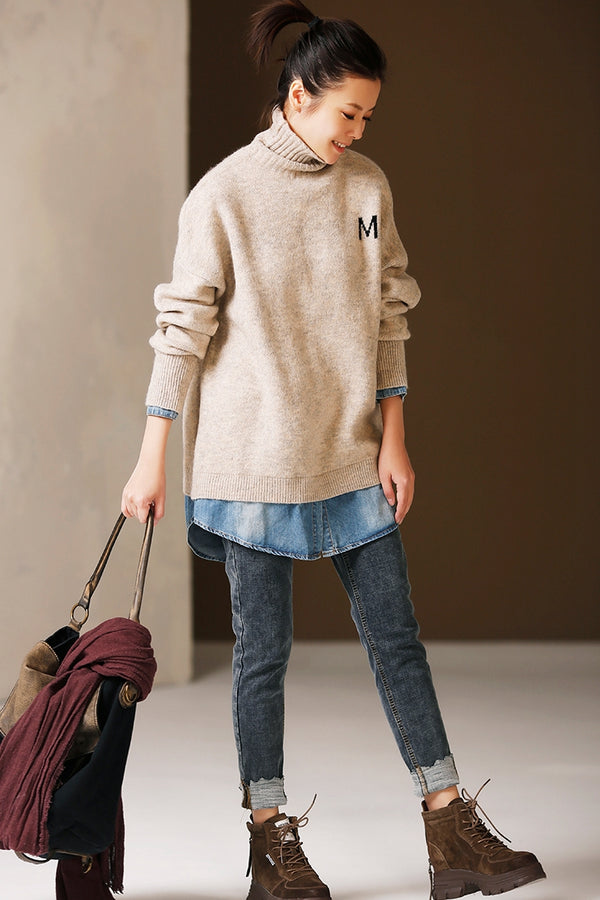 Women High Neck Quilted Loose Thick Sweater Casual Tops For Winter M7729
