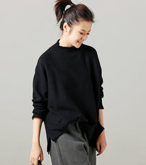 Black And Coffee High Neck Loose Knitwear Women Casual Tops Z016