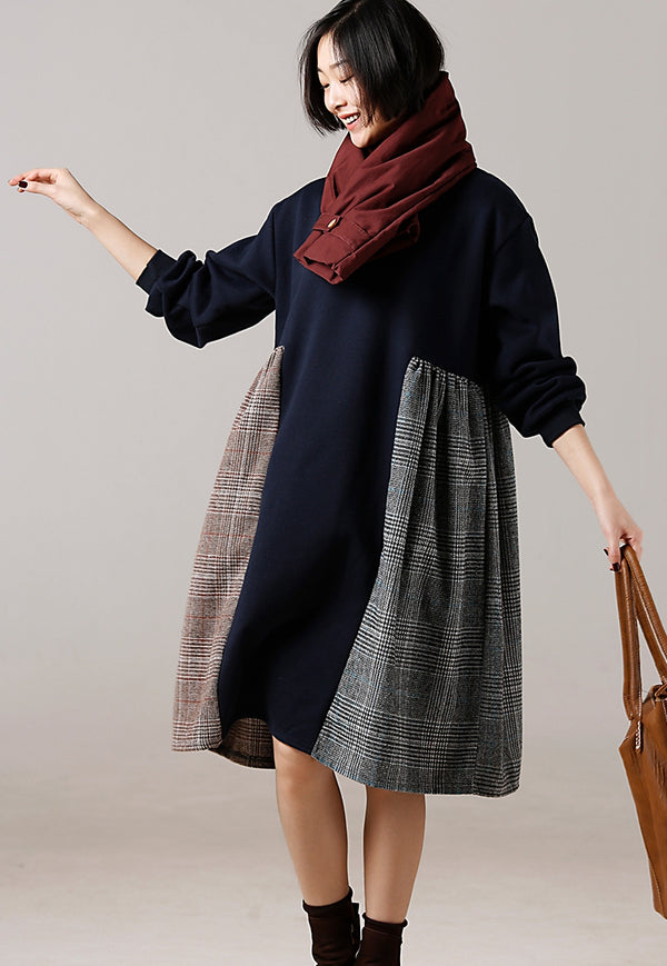 Casual Quilted High Waist Loose Dresses For Women Q8617