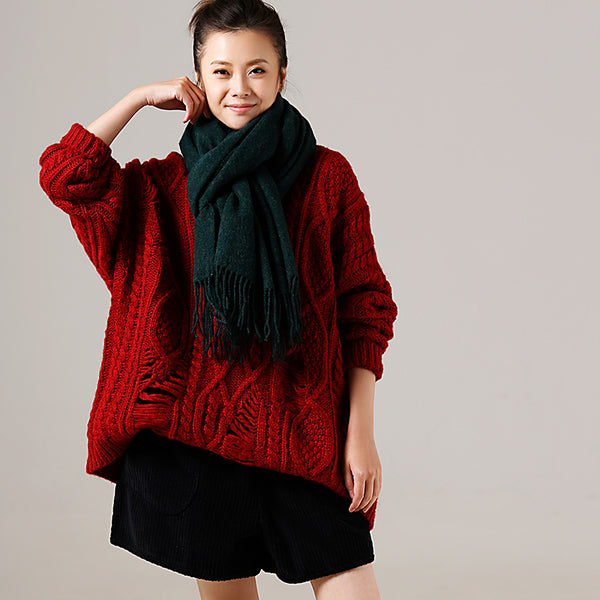 Blue And Red Loose Thick Sweater Women Casual Tops M6608