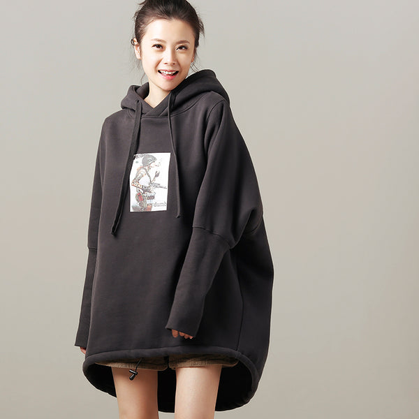 Women Loose Hoodie Brushed Gray Fleece Casual Thick Tops R1826