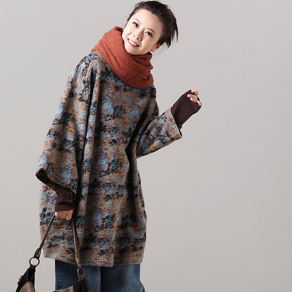 Loose Blue Wool Long Fleece Casual Tops For Women R7957