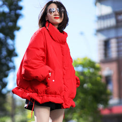 Women Red Short Thick Loose Down Coat Casual Winter Outfits Y1835