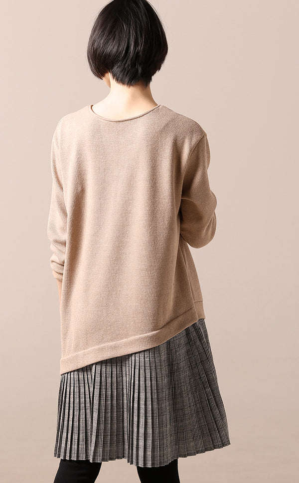 Casual Quilted Sweater Dresses Women Loose Clothes Q1225