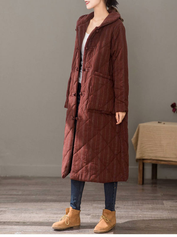 Women Vintage Thick Long Winter Coat Casual Cotton Outfits 1378