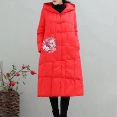 Chinese Style Embroidery Hoodie Long Down Coat For Women 1375