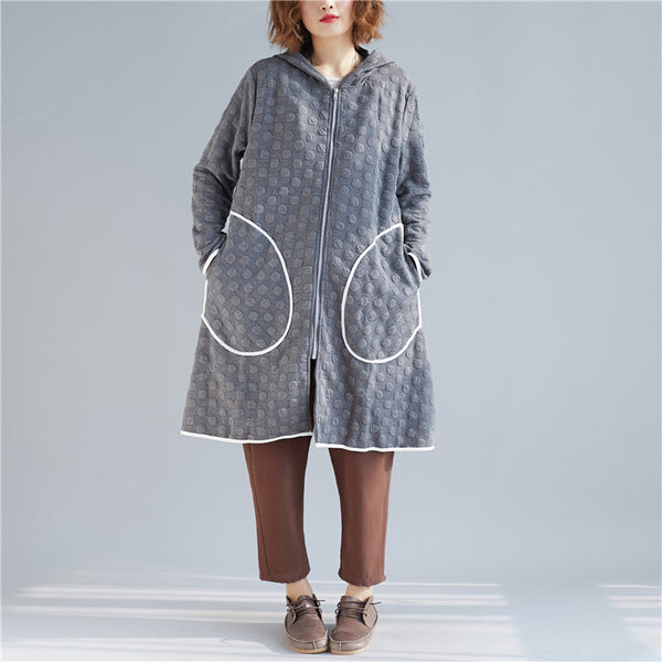 Gray Loose Hoodie Cotton Coat Women Casual Spring Outfits C24122