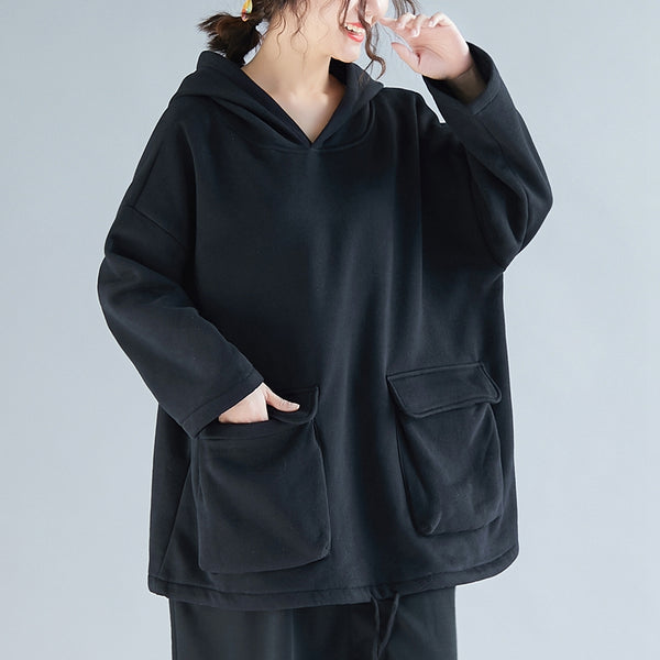 Coffee And Black Brushed Hoodie Fleece Women Thick Tops F24120