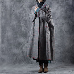 Vintage Loose Plaid Woolen Over Coat Women Casual Outfits W3378