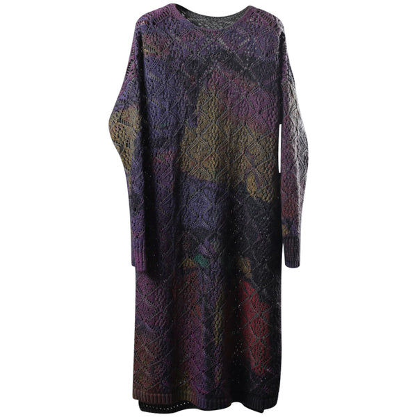 Vintage Loose Cotton Maxi Sweater Dresses For Women W5285