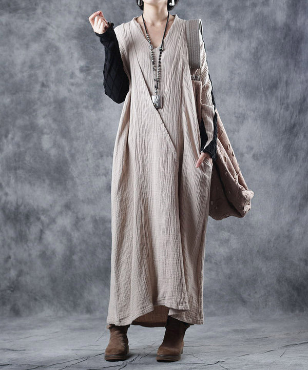 Loose Beige Quilted Cotton Linen Maxi Dresses For Women W8720