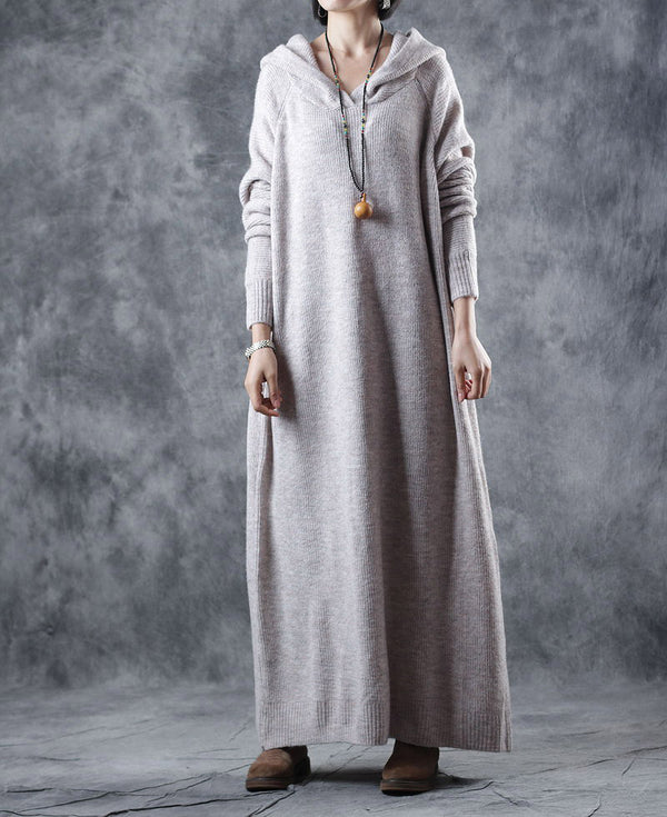 Loose Hoodie Maxi Sweater Dresses Women Casual Clothes WF388
