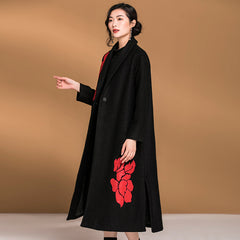 Vintage Loose Embroidery Casual Woolen Overcoat For Women C31122