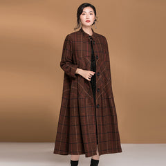 Women Loose Plaid Button Down Woolen Coat Casual Outfits C31123
