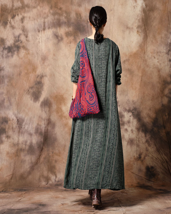 Green And Blue Vintage Loose Cotton Linen Print Maxi Dresses For Women Q31125