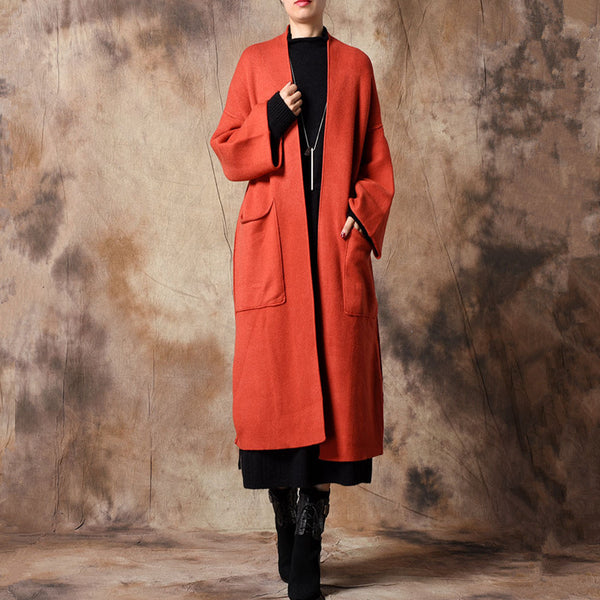 Women Casual Knitted Long Wind Coat Loose  Outfits C32121