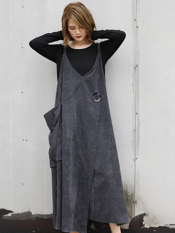 Loose Gray And Black Casual Corduroy Strap Dresses For Women Q31127